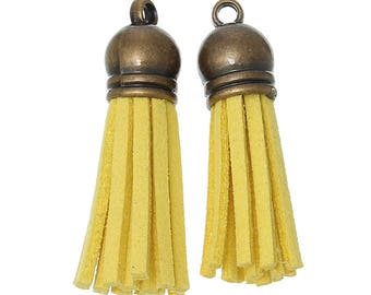 Yellow suede tassels 3,9 1 10 cm with brass cap