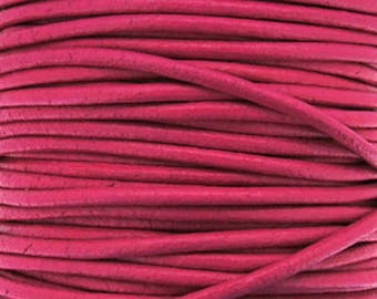 Leather thong 2 mm round fuschia sold by 20 cm