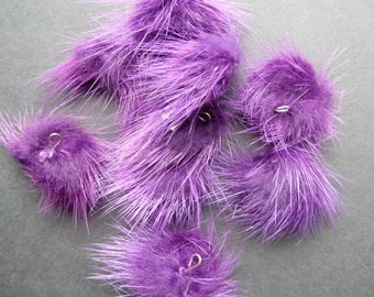 2 balls of fur purple rondelle with eye ± 25mm