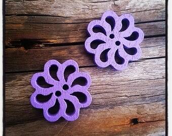 set of 2 fancy wood, rose, purple flower buttons