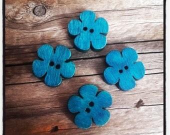 set of 4 blue 19x18mm wooden flower buttons