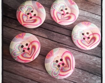 set of 5 large button wood heart 25 MM