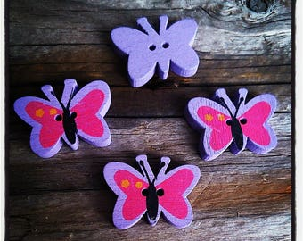 set of 4 fancy wood 23x17mm Butterfly purple and fuchsia buttons