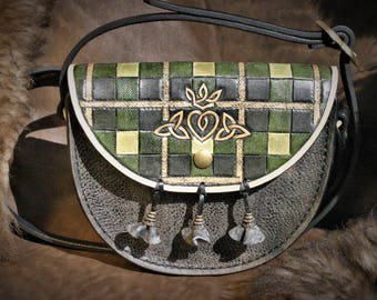 OUTLANDER inspired layering SASSENACH Claire Fraser tooled leather clutch bag style sporran Celtic Scottish tartan