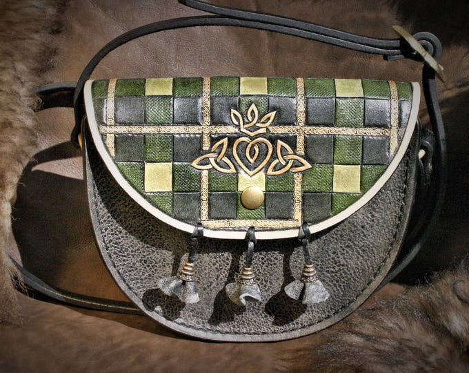 Small clutch shoulder bag adjustable layering Celtic sporran Scottish tartan leather tooled, inspired by the Outlander series
