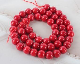 lot de 10 perles de corail rouge 8mm, perles corail 8mm rouge naturelles - perle corail rouge 8 mm perles rouges