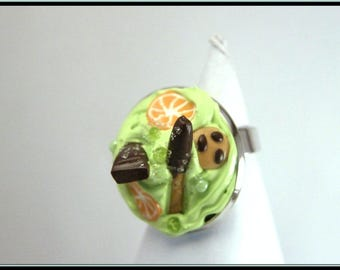 Pistachio Moss ring polymer clay and paint deco3D.