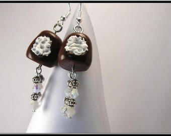 Earrings black polymer clay and swarovs Crystal beads