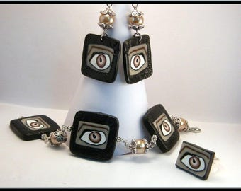 Cane eye with polymer clay and glass bead bracelet/earrings/ring set