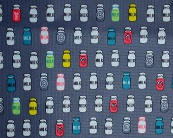 "Grey pvc coated fabric * waterproof * pattern ""Milk bottles"""