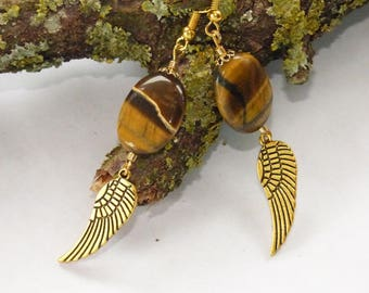 PEBBLE ŒIL OF TIGER AND WING GOLD EARRINGS
