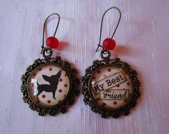 "Dangling earrings ""Chihuahua II"", bronze"