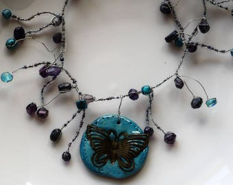 """Bohemian Chic necklace, Turquoise necklace, gift idea, Original """"blue butterfly"""""""