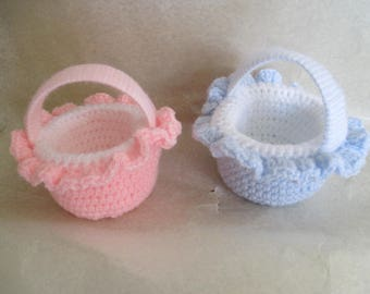 Basket blue or pink crocheted