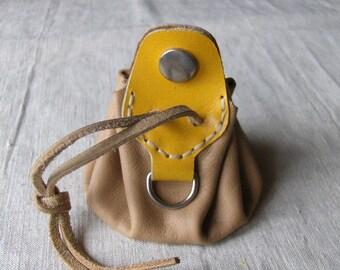 Worn purse wallet leather yellow beige