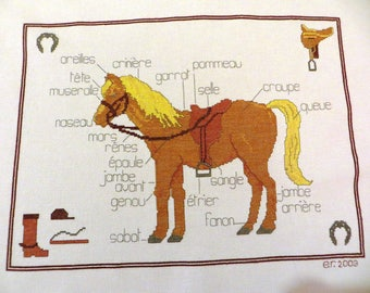 Hand embroidered canvas: the horse and his descriptions...