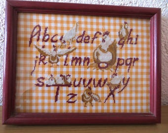 Canvas hand embroidered and framed: the ABC of little hens
