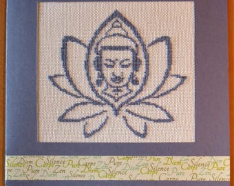 Hand embroidered card: head of Buddha in lotus flower