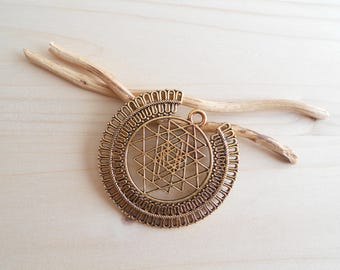 Sri yantra gold antique pendant