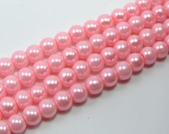 Set of 25 beads 6 mm glass Pearl pastel pink color