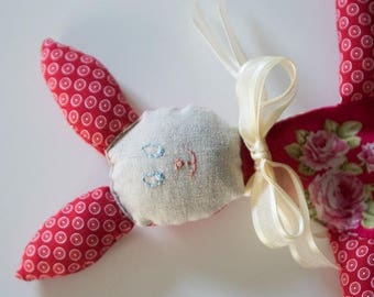 Red rabbit toy, linen and satin ribbon