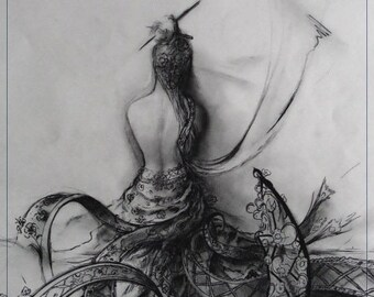Sensuality of a woman in charcoal back