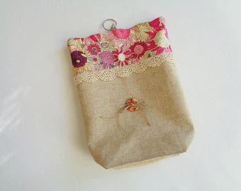 Empty pouch bag Pocket hanging in linen