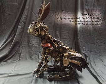 Lucky Club: scrap metal rabbit sculpture