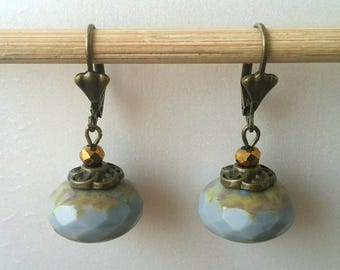 Grey Czech glass Pearl Earrings
