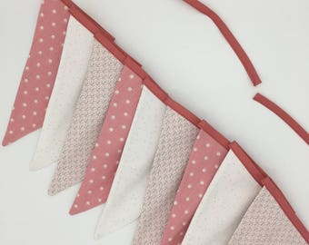 Garland pennants in pink and white fabric
