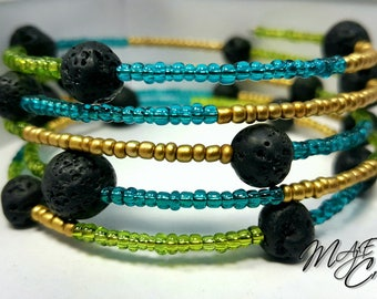 Cuff Bracelet five rows of green, turquoise and gold colored beads