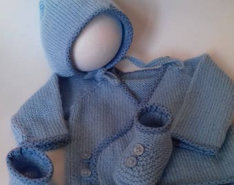 jacket, bonnet, blue Bootie set