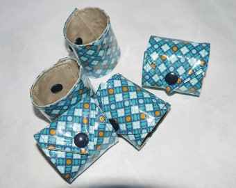 Napkin, linen and cotton coated, beige and blue graphics