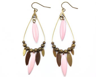 Long bronze earrings - drop sequins glazed pink and bronze