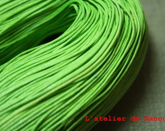 set of 10 m Apple green waxed cotton cord 1 mm