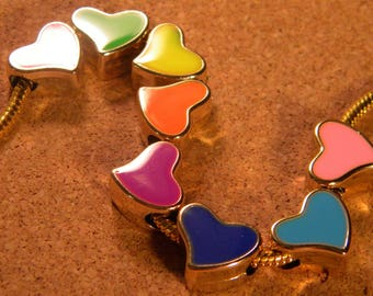 8 bead charm European - 15 mm - European bead heart-gold enameled - multicolored - C61