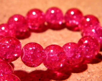 glass Crackle 8 mm - fuchsia - PF64 20 beads