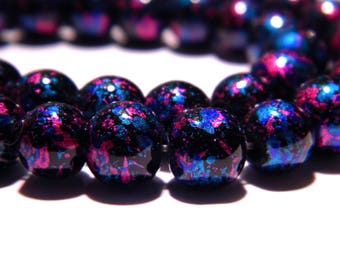 10 bright decorated glass - beads 8 mm - turquoise tones and fuchsia PG100 4