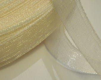10 meters of Ribbon 10 mm beige organza