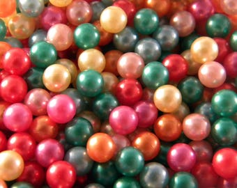DESTASH - LOT of 200 beads iridescent mother of Pearl way NON DRILLED 6 mm