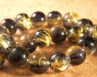 10 pearls glass translucent technology - 10 mm black / orange beige PE30