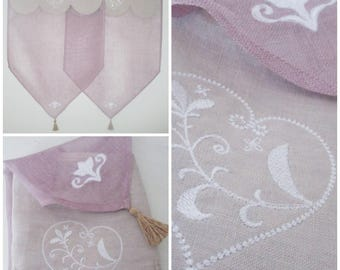 Curtain breeze Kiss shabby chic plum linen veil(sail) and taupe with embroidered heart