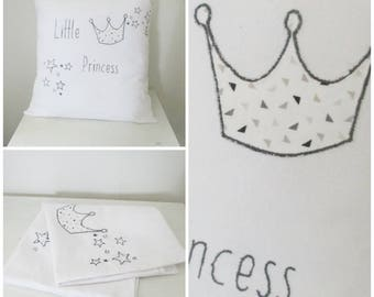 "Embroidery ""Little Princess"" black and white pillow cover"