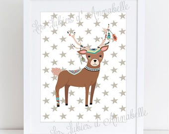 A4 poster for Indian or Tribal deer nursery