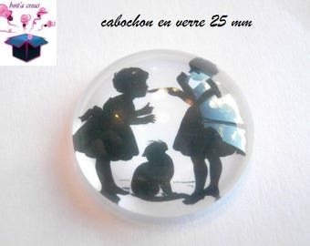 1 cabochon clear 25 mm round theme silhouette child