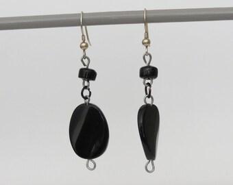 Black Bead Drop Earring