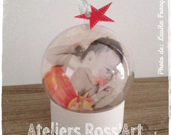 "Ball clear 7cm ""my first Christmas"" with customizable text and photo"