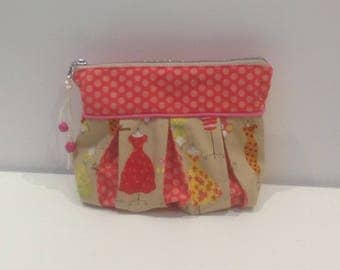 Bag, clutch bag with dresses and polka dots