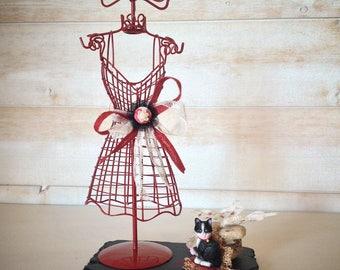 Retro red metal mannequin jewelry holder