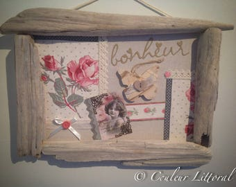 Frame wood roses and butterfly.